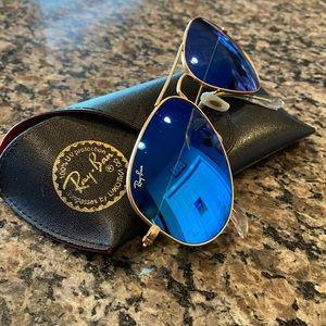 Ray-Ban Aviator Sunglasses Gold/Blue RB 3025